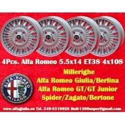 4 Stk. Alfa Romeo Millerighe 5.5x14 4x108