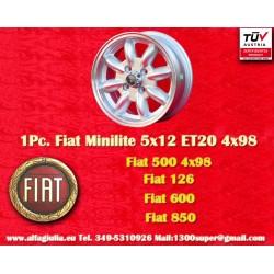 1 pc. jante Minilite Fiat 5x12 ET20 4x98