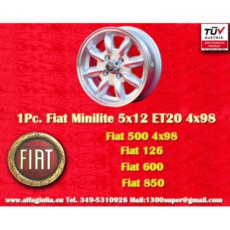 1 Stk. Felge Minilite Fiat 5x12 ET20 4x98