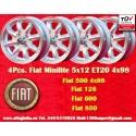 4 Stk. Felgen Minilite Fiat 5x12 ET20 4x98