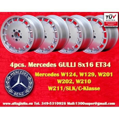 4 pz. Llantas Mercedes Gullideckel 8x16 ET34 para coches Mercedes