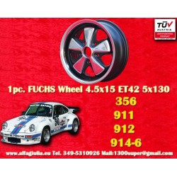 1 Stk. Felge Porsche 356C, 911, 912, 914-6 Fuchs 4.5x15 ET42 5x130