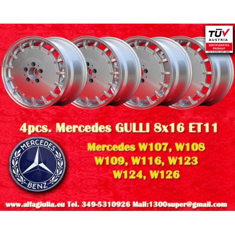 4 Cerchi in lega Gullideckel 8x16 ET11 5x112 per vetture Mercedes
