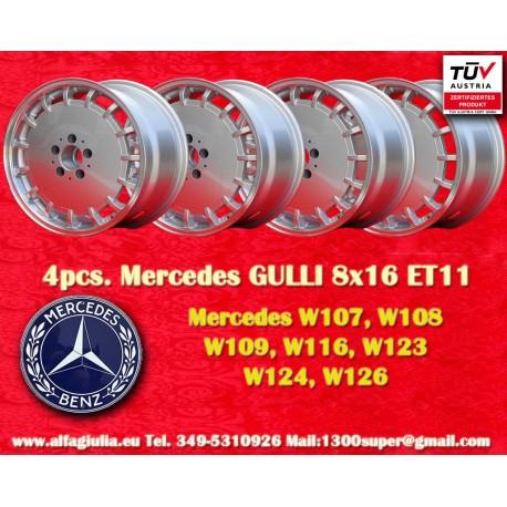 4 pz. Llantas Mercedes Gullideckel 8x16 ET11 para coches Mercedes