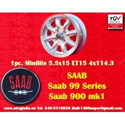1 pc. Saab Minilite 5.5x15 ET15 4x114.3 wheel
