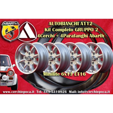 4 wheels Minilite 6x13 Autobianchi A112 + Mudguard abarth