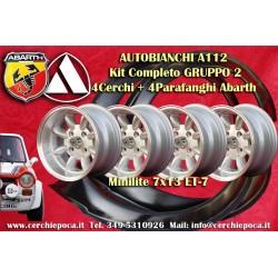 4 Jantes Minilite 7x13 Autobianchi A112 + Garde-boue Abarth