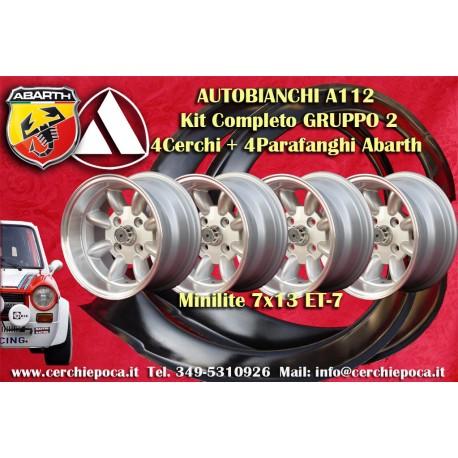 4 stück Minilite 7x13 Autobianchi A112 Felgen + Kotflügel Abart