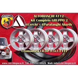 4 Cromodora CD30 5.5x13 Autobianchi A112 Felgen + Kotflügel Abarth