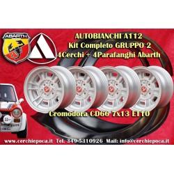 4 Jantes Cromodora CD66 Autobianchi A112 + Garde-boue Abarth