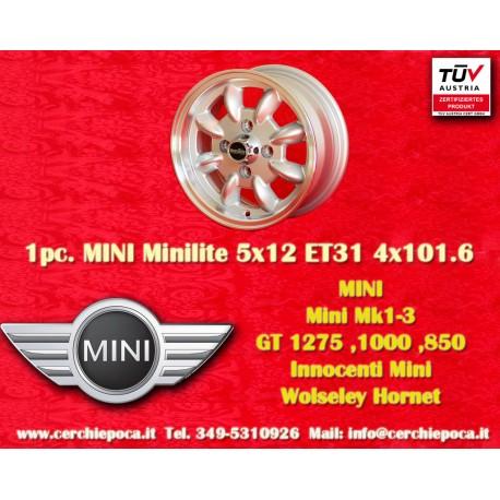 1 pc. Mini Minilite style 5x12 ET31 4x101.6 wheel