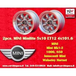 2 Stk Felgen Mini Minilite style 5x10 ET12 4x101.6