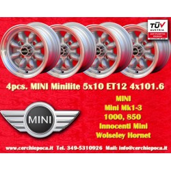 4 pcs. Mini Minilite style 5x10 ET12 4x101.6 wheels