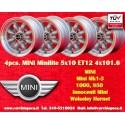 4 pcs. Mini Minilite style 5x10 ET12 4x101.6 wheels