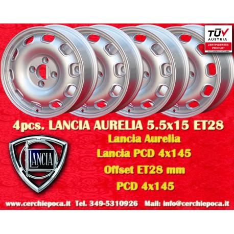 4 pcs. Lancia Aurelia 5.5x15 ET28  4x145 wheels