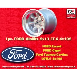 1 pc. cerchio Ford Minilite 8x13 ET-6 4x108