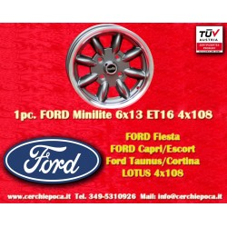 1 pc. Ford Minilite 6x13 ET16 4x108 Anthracite wheel