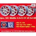 4 pcs. NSU 5.5x13 ET25 5x130 wheels