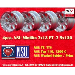4 pcs. Minilite NSU 7x13 ET-7 5x130 wheels