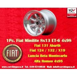 1 pz. llanta Fiat Minilite 8x13 ET-6 4x98