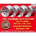 4 pz. llantas Fiat Minilite 8x13 ET-6 4x98