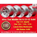 4 Stk. Felges Fiat Minilite 9x13 ET-12 4x98