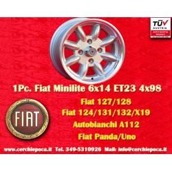 1 pc. cerchio Fiat Minilite 6x14 ET23 4x98