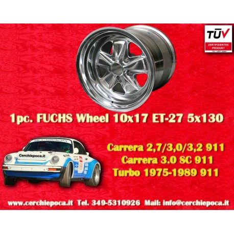 1 pz. llanta Porsche 911 Fuchs 10x17 ET-27 5x130 polished style
