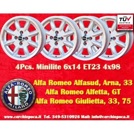 4 pcs. jantes Minilite Alfa Romeo 6x14 ET23 4x98