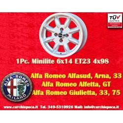 4 Stk. Felgen Minilite Alfa Romeo 6x14 ET23 4x98