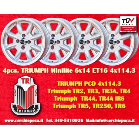 4 pcs. Triumph Minilite 6x14 ET16  4x114.3 wheels