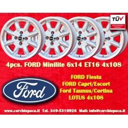 4 Stk. Felgen Ford Minilite 6x14 ET16 4x108