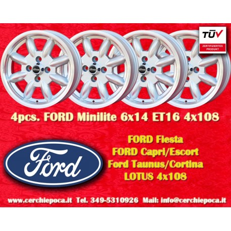 4 pcs. Ford Minilite 6x14 ET16 4x108 wheels
