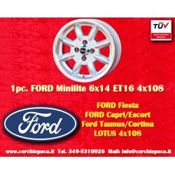 4 pcs. jantes Ford Minilite 6x14 ET16 4x108