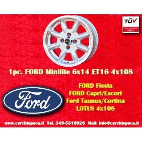 4 pcs. Ford Minilite 6x14 ET16 4x108 wheels