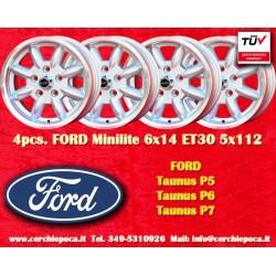 4 pcs. Ford Taunus Granada Consul Minilite 6x14 ET30 5x112 wheels