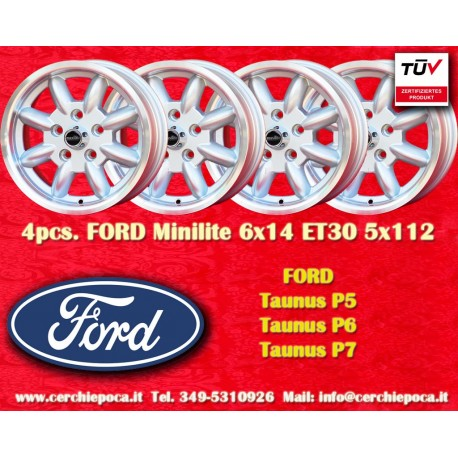 4 pz. llantas Ford Minilite 6x14 ET30 5x112