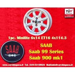 1 pc. Saab Minilite 6x14 ET16  4x114.3 wheel