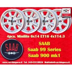 4 pcs. Saab Minilite 6x14 ET16  4x114.3 wheels
