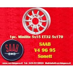 1 pc. cerchio Saab 95 96 V4 Minilite style 5x15 ET32 5x170