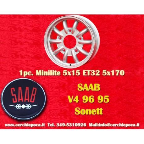 1 pz. llanta Saab 95 96 V4 Minilite style 5x15 ET32 5x170
