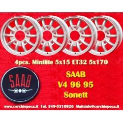 4 pcs. Saab 95 96 V4 Minilite style 5x15 ET32 5x170wheels