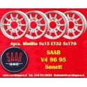 4 pcs.  Saab 95 96 V4 Minilite style 5x15 ET32 5x170 wheels