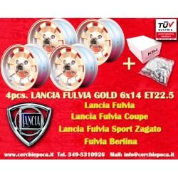 4 pz.  Llantas Lancia Fulvia Cromodora CD28 6x14 con los pernos libres