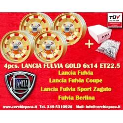 4 pc. Cerchi Lancia Fulvia Gold Cromodora CD28 6x14 Bulloni Inclusi