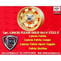 4 pcs. Lancia Fulvia Cromodora CD28 Oro 6x14 ET22.5 4x130