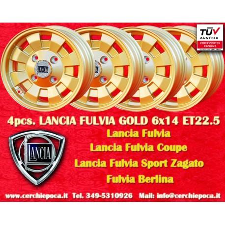 4 pcs. Lancia Fulvia Cromodora Gold CD28 6x14 ET22.5 4x130