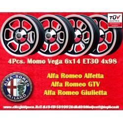 4 Stk. Felgen Alfa Romeo Momo Vega 6x14 ET30 4x98