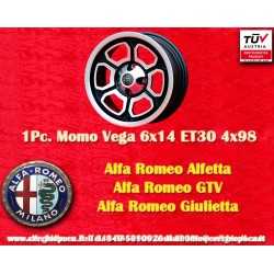 4 pcs Alfa Romeo Momo Vega 6x14 ET30 4x98 wheels