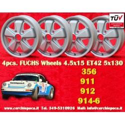4 pz. llantas Porsche 356C, 911, 912, 914-6 Fuchs 4.5x15 ET42 5x130 acabado plateado mate
